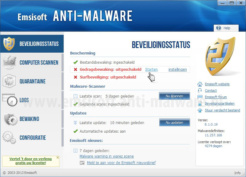 Emsisoft Anti-Malware Beveiligingsstatus