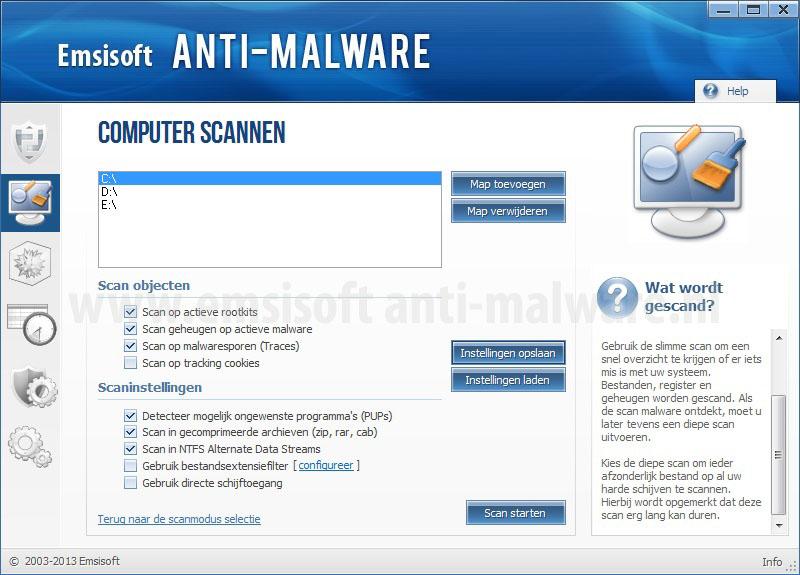 Emsisoft Anti-Malware aangepaste scan