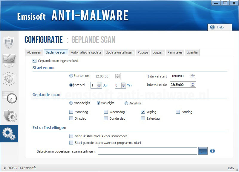 Emsisoft Anti-Malware Geplande scans