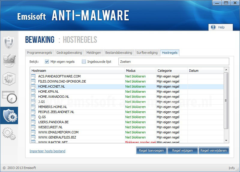 Emsisoft Anti-Malware Hostregels