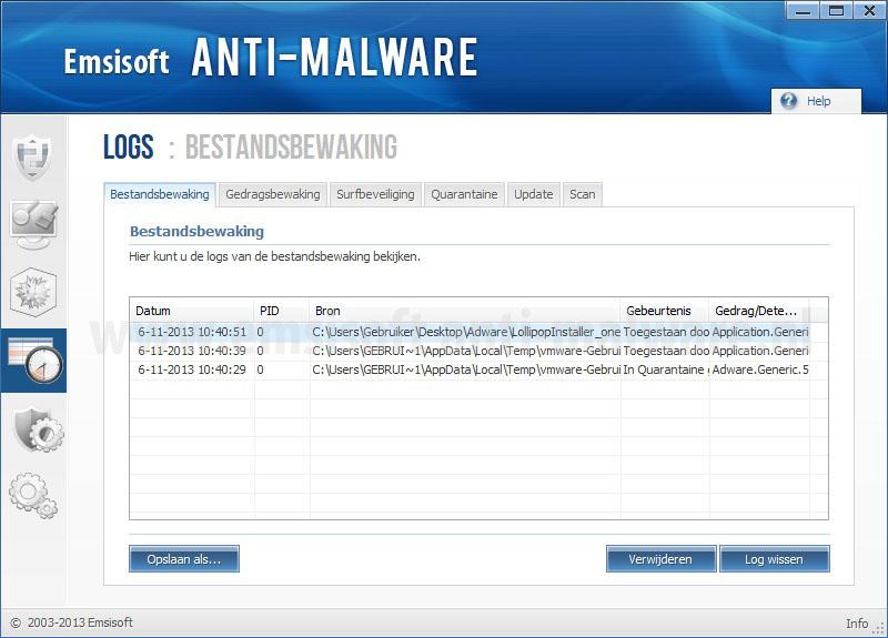 Emsisoft Anti-Malware logbestanden
