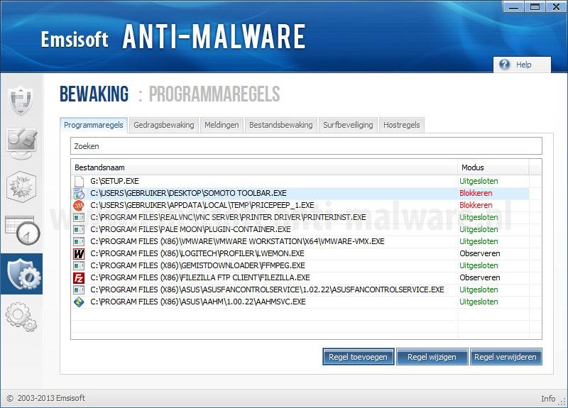 Emsisoft Anti-Malware Programmaregels